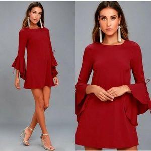Lulu's Made For Me Red Flounce Sleeve Shift Dress